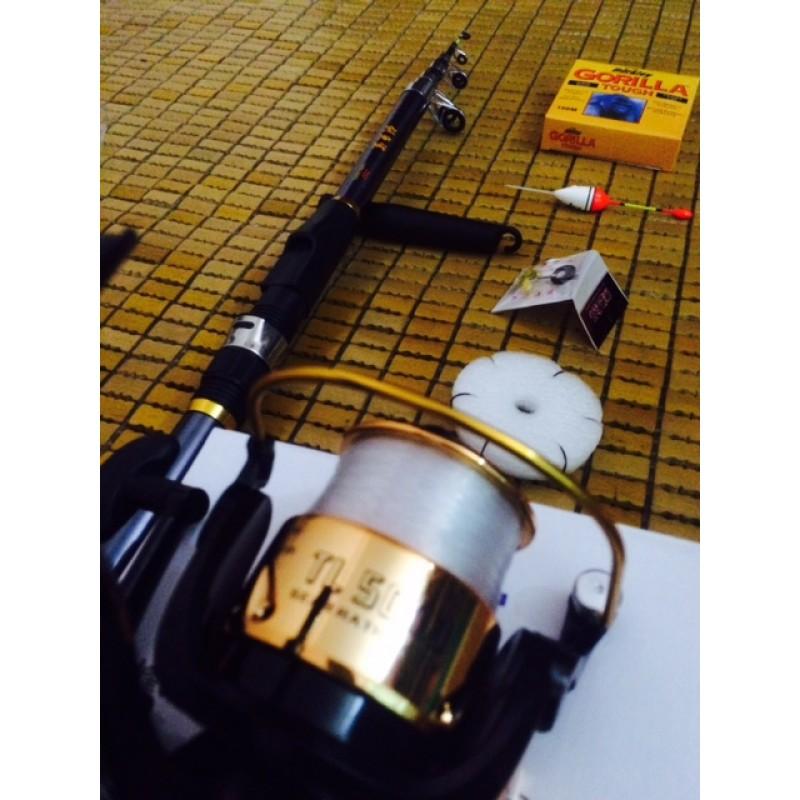 Bộ cần câu cá, bộ cần câu MÁY, Lancer, lục, đơn 2.7m - 3m RÚT