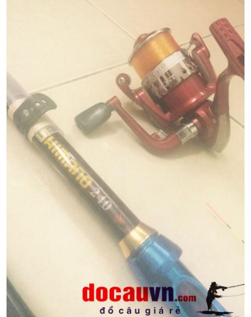 Bộ cần câu cá, bộ cần câu MÁY, Lancer, lục, đơn 2.4m RÚT